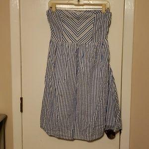 Blue/ white striped strapless dress w/ side zipper